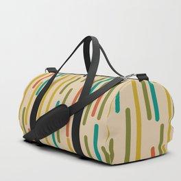 Mid Century Mod Line Dance Pattern in Orange, Teal, Mustard, Olive, and Beige Duffle Bag