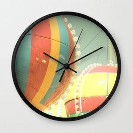Up Up & Away I Carnival, fair, ride, hot air balloon, whimsical, fun rainbow, adventure, pastel,  Wall Clock
