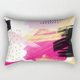 Modern pink black gold abstract geometric shapes brushstrokes pattern Rectangular Pillow
