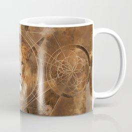 Lion Sacred Geometry Digital Art Coffee Mug