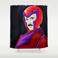 tesla Shower Curtains featuring Magneto Tesla by Aghko