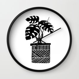 Monstera cheese plant house plant black and white minimal modern linocut art Wall Clock