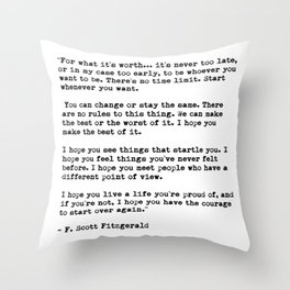 F Scott Fitzgerald quote Throw Pillow
