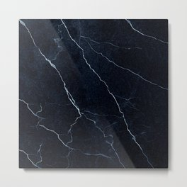 Navy Blue Cracked Marble Metal Print