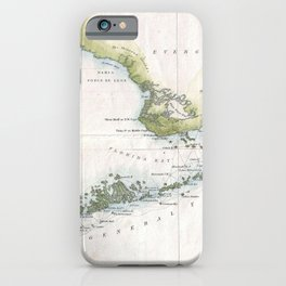 Vintage Map of The Florida Keys (1852) iPhone Case