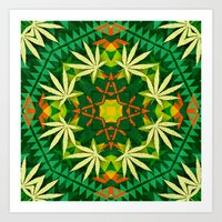 cannabis Art Prints featuring Tribal Cannabis by GypsYonic