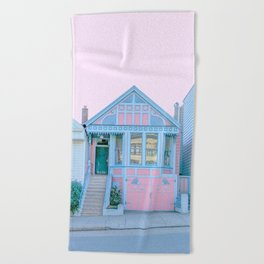 San Francisco Painted Lady Victorian House Beach Towel