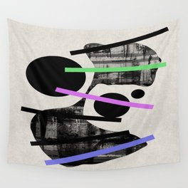 PENSIVE - Eclectic blend of geometric shapes, pastel colours, and black and white textures Wall Tapestry