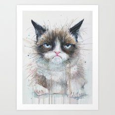 Grumpy Kitty Cat Art Print