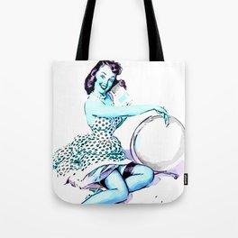Pin Up Girl Cartoon Elvgren blue Tote Bag