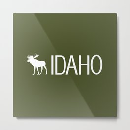 Idaho: Moose (Mountain Green) Metal Print