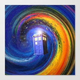 Tardis Doctor Who Fly into Time Vortex Canvas Print