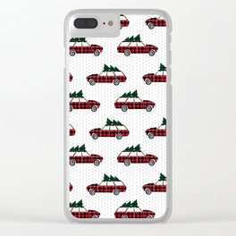 Christmas station wagon estate car holiday winter vacation vintage cars Clear iPhone Case