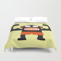 muscle Duvet Covers featuring Muscle Monkey by Zubinski Products