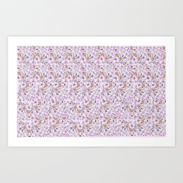 flowers and leaves on pink background . ( https://society6.com/simpledoodles/collection ) Art Print