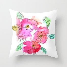 Pink Watercolor Flowers // Floral Feelings Throw Pillow