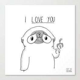 PUG Mochi - I love you Canvas Print