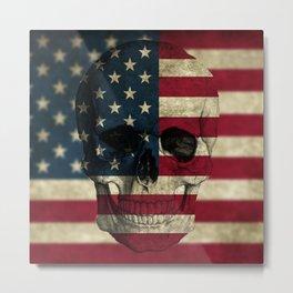 U.S. Flag Skull Metal Print