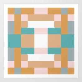 Creamy Pink Squares Art Print