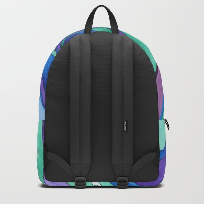 Watercolor . Abstraction . The peacock feather . 1 Backpack