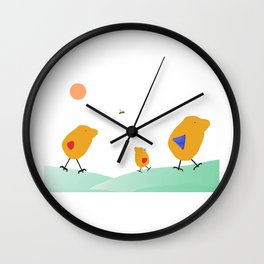 Sunny Family Walking with Girl Wall Clock