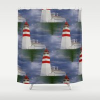 lighthouse Shower Curtains featuring Lighthouse by Ellyne
