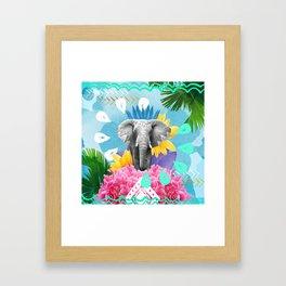 Elephant Festival - Blue Framed Art Print