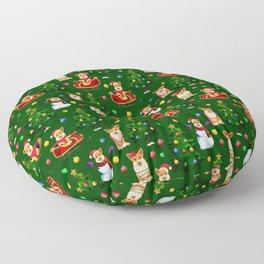 Merry Corgmess- Corgi Celebrate Christmas- Xmas Tree Green Floor Pillow