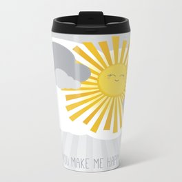 KAWAII SKY - smiling sun in grey clouds - you make me happy Metal Travel Mug