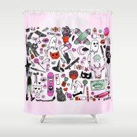 creepy Shower Curtains featuring CREEPY CRUISERS by Sara M Lyons
