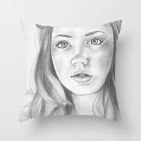 amy pond Throw Pillows featuring amy pond  by Jill Schell