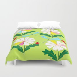 Green Spring Damselflies, Lady Bugs and Daisies Duvet Cover