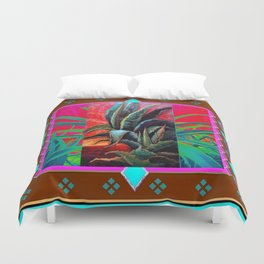 COLORFUL DESERT AGAVE CACTUS PAINTING Duvet Cover