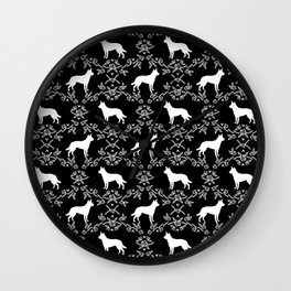 Australian Kelpie dog pattern silhouette black and white florals minimal dog breed art gifts Wall Clock