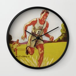 Run Cross-Country Vintage Art Print Wall Clock