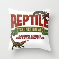 ale giorgini Throw Pillows featuring Reptile Dysfunction Ale - Raising Spirits & Tails - Parody Beer Brand - Reptile - Adult Humor by Traci Hayner Vanover