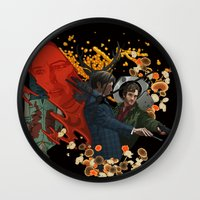 will graham Wall Clocks featuring The story of Will Graham  by Indigo Perez