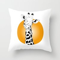 giraffes Throw Pillows featuring giraffes  by Eda ERKOVAN