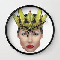 evil queen Wall Clocks featuring Evil Queen by Christina Quackenbush