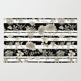 The floral pattern on striped background. Rug