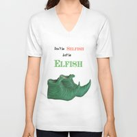 elf V-neck T-shirts featuring Elf Quotation  by Maisy W