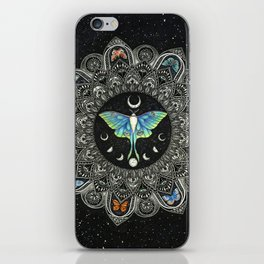 Lunar Moth Mandala with Background iPhone Skin