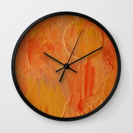 Orange Abstract Painting Wall Clock