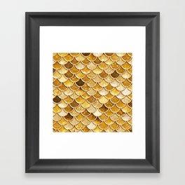 Gold Trendy Glitter Mermaid Scales Framed Art Print