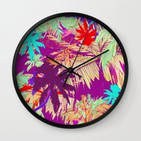 palm trees Wall Clocks featuring Palm Trees by Marcella Wylie