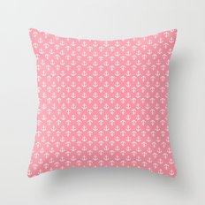 Pink Anchors Pattern Throw Pillow