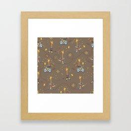 cool giraffe brown background Framed Art Print