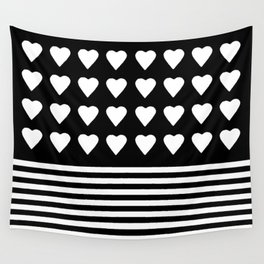 Heart Stripes White on Black Wall Tapestry
