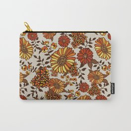 Retro 70s boho hippie orange flower power Carry-All Pouch