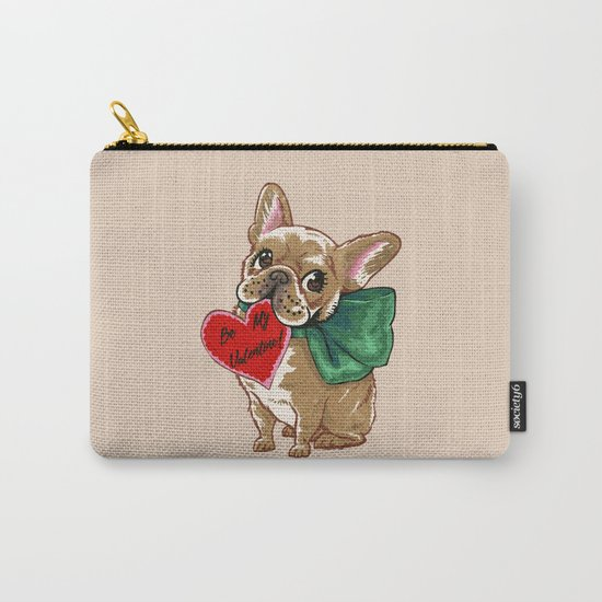 Be My Valentine Frenchie Carry-All Pouch